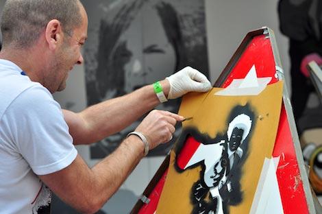 Pistol preparing stencil upfest
