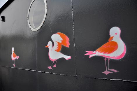 gull stencils on grain barge