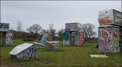 Banksy portaloos in Glastonbury
