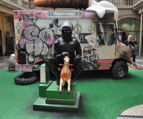 Banksy riot cop rocking horse