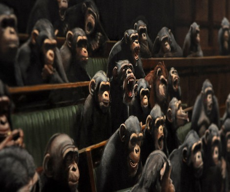 Chimps in parliament by Banksy