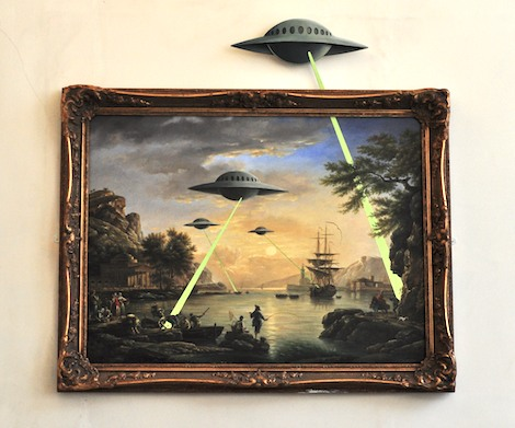 UFOs attack banksy painting