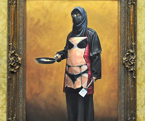 Muslim women with saucy apron Banksy