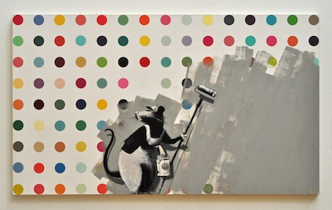 Rat painting over Damien Hirst dot piece