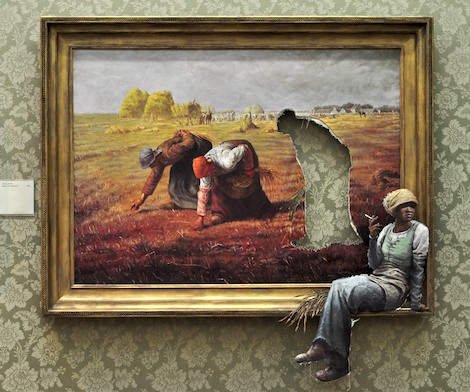 Field worker taking rest Banksy painting