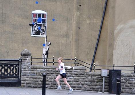 Banksy park street mural defaced