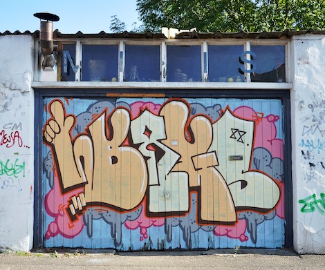 graffiti piece on garage door