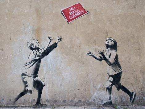 Banksy no ball games graffiti