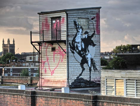 Banksy horse rider graffiti