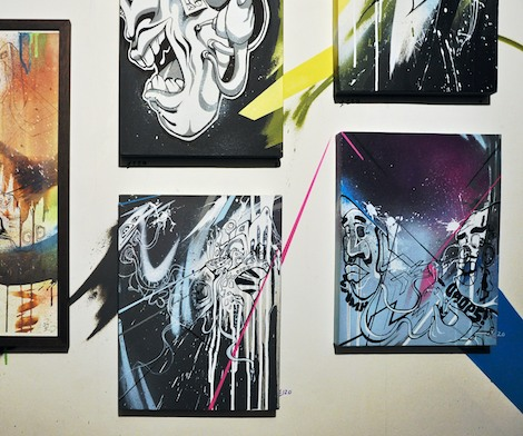 Close-up of Nikill's canvases